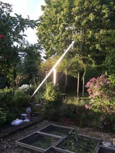 Shinning mast at sunset