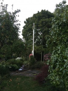 Mast completed in lowered position