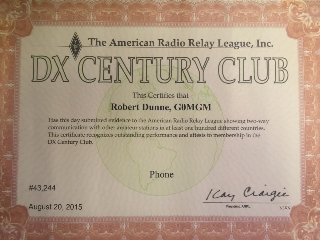 DXCC Phone Certificate